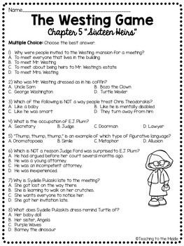 The Westing Game by Ellen Raskin Chapter 5 reading comprehension questions