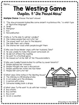 The Westing Game by Ellen Raskin Chapter 8 reading comprehension questions