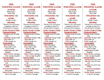 The Westing Game edition of Bookmarks Plus—A Very Handy Li