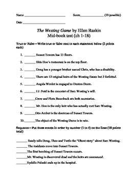 the westing game test chapters 1 18 by cassie caringella tpt. Black Bedroom Furniture Sets. Home Design Ideas