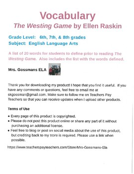 The Westing Game vocabulary