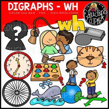 Digraph~WH Clip Art Bundle {Educlips Clipart}