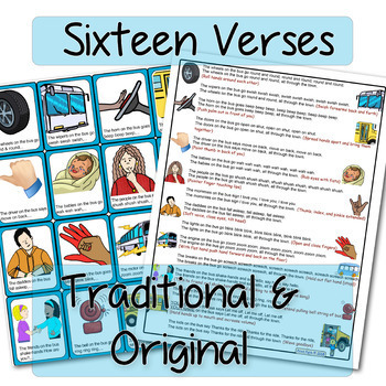 The Wheels On The Bus Song Board, Visual Supports for 16 Verses, EDITABLE