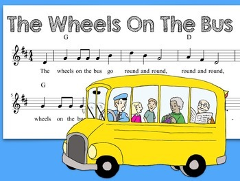 The Wheels On The Bus Song with Coloring Page
