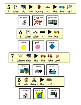 """The Wheels On The Bus """"WH"""" Comprehension Worksheets with visuals"""