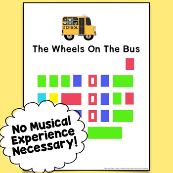 The Wheels On The Bus, Color-Coded Piano Song Sheet