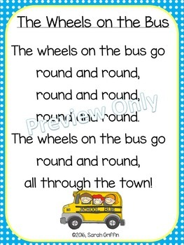 The Wheels On The Bus Poetry Packet By Little Learning