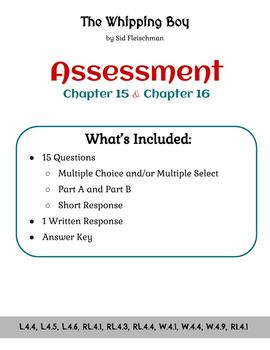 The Whipping Boy - Assessment - Chapters 15 and 16 (Grade 4)