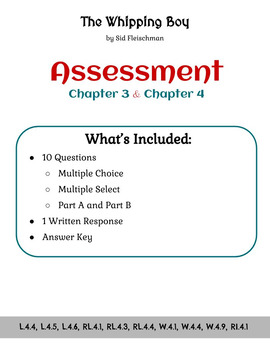 The Whipping Boy - Assessment - Chapters 3 and 4 (Grade 4)