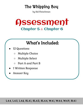 The Whipping Boy - Assessment - Chapters 5 and 6 (Grade 4)