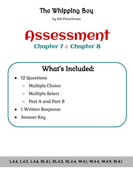 The Whipping Boy - Assessment - Chapters 7 and 8 (Grade 4)