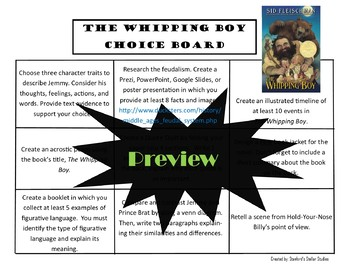 The Whipping Boy Choice Board Novel Study Activities Menu Book Project