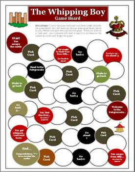 The Whipping Boy Comprehension Game Board Activity