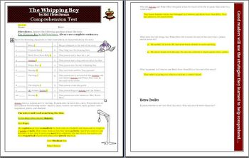 The Whipping Boy Comprehension Quiz with answer key