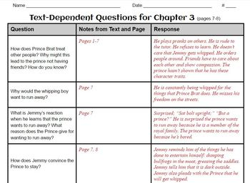 The Whipping Boy - Comprehension - Text-Dependent Questions (Grade 4) TDQ
