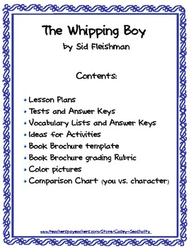 The Whipping Boy Literary Packet with Tests, Vocabulary and FUN Activities