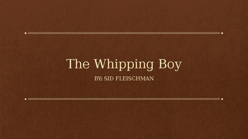 The Whipping Boy Novel Study