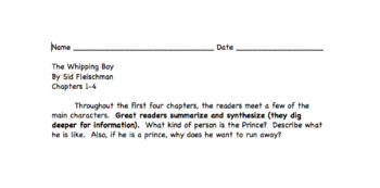 The Whipping Boy Reading and Comprehension Checks