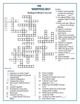 The Whipping Boy: Reading-for-Detail Crossword—34 clues!