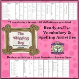 The Whipping Boy: Vocabulary and Spelling Activities