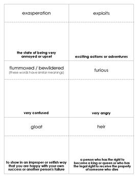 The Whipping Boy Vocabulary Bingo