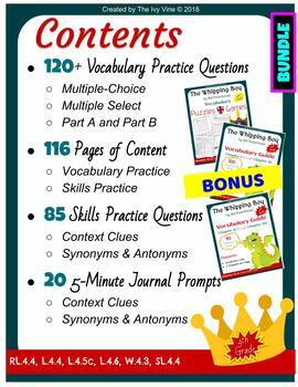 The Whipping Boy - Vocabulary - Chapters 1-20 (Grade 4) BUNDLE *PARCC-Like
