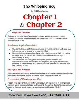 The Whipping Boy - Vocabulary - Chapters 1 and 2 (Grade 4)