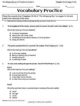 The Whipping Boy - Vocabulary - Chapters 13 and 14 (Grade 4)