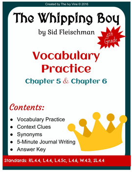 The Whipping Boy - Vocabulary - Chapters 5 and 6 (Grade 4)