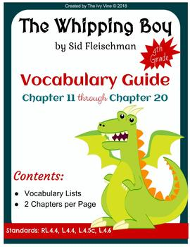 The Whipping Boy - Vocabulary Guide - Chapters 11-20 (Grade 4)