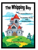 The Whipping Boy Vocabulary Study