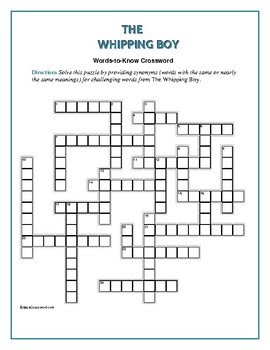 The Whipping Boy: 25 Words to Know Crossword—Companion to