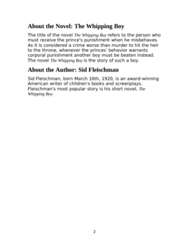 The Whipping Boy Workbook