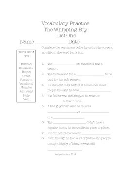 3rd/4th/5th ELA The Whipping Boy by Sid Fleishman Spelling & Vocabulary Packet