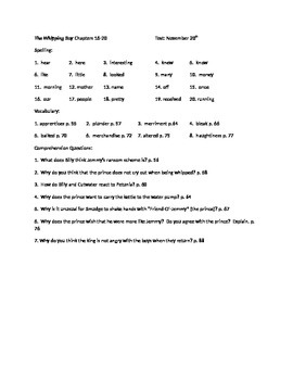 The Whipping Boy study guide chapters 16-20