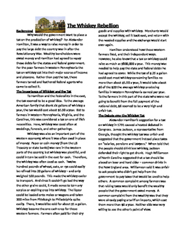 Info Text-The Whiskey Rebllion: The New US Republic and Constitution (Sub Plans)