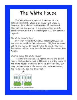 The White House - Close Reading and Writing Informational Text Unit