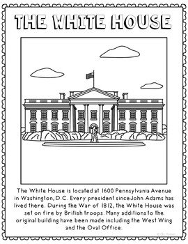 The White House Informational Text Coloring Page Craft or Poster