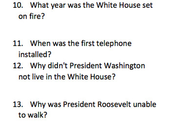 The White House Informational Text and Comprehension Questions