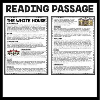 The White House Reading Comprehension; American Landmark; Washington, D.C.