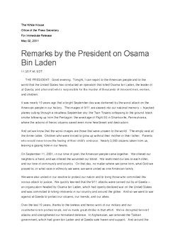The White House announcement on the death of Osama Bin Laden