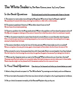 The White Snake - Pre, During, Post AND Comprehension Questions