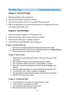 The White Tiger Comprehension Questions & Answers