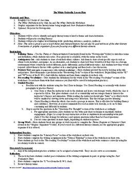 Lesson: The White Umbrella by Gish Jen Lesson Plans, Worksheets, Key, PPTs