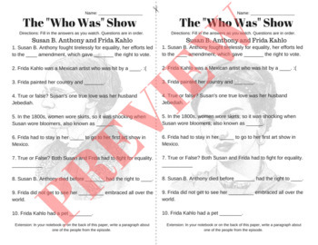 """The """"Who Was"""" Show Video Guide-- Netflix-- Episode 7, 8, 9 Fill in The Blanks"""