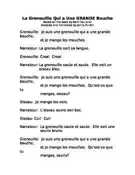 The Wide-Mouthed Frog in French with worksheets