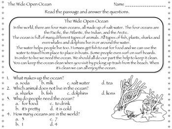 The Wide Open Ocean - Reading Passage - Practice Worksheet