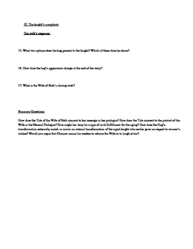 The Wife of Bath: A Reading Worksheet