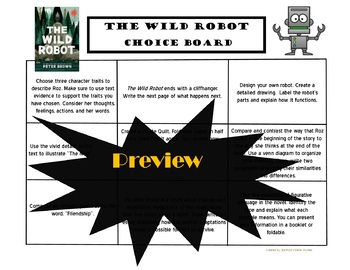 The Wild Robot Choice Board Bundle 11 Activity Pages Book Project Menu