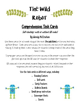 The Wild Robot Comprehension Task Cards - with or without QR codes
